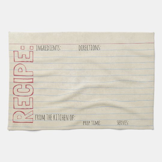 Vintage Recipe Index Card -Towel -Stenciled Header Towel