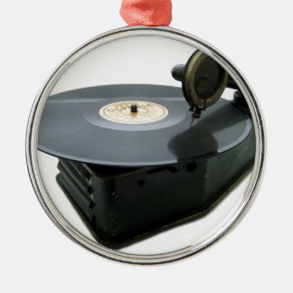 Vintage Record Player Metal Ornament