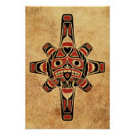 Vintage Red and Black Haida Sun Mask Poster