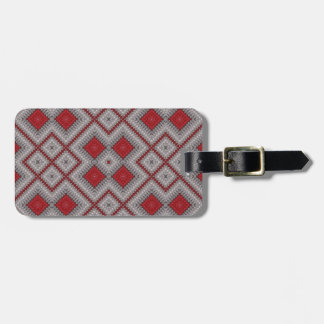 Vintage Red And Gray Geometric Abstract Pattern Luggage Tag