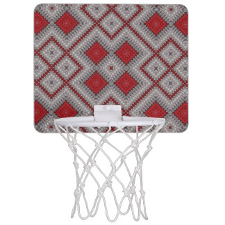 Vintage Red And Gray Geometric Abstract Pattern Mini Basketball Hoop
