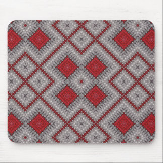 Vintage Red And Gray Geometric Abstract Pattern Mouse Pad