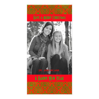 Vintage Red and Green Christmas Damask Photo Cards