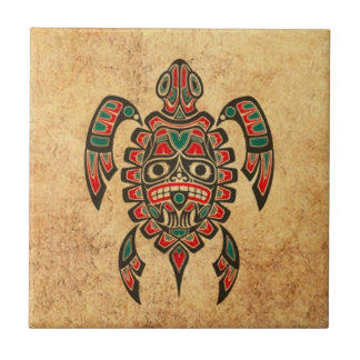 Vintage Red and Green Haida Spirit Sea Turtle Ceramic Tiles