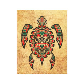 Vintage Red and Green Haida Spirit Sea Turtle Gallery Wrapped Canvas