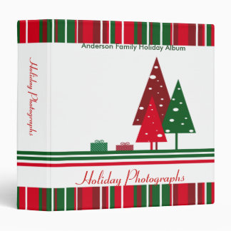 Vintage Red and Green Holiday Photographs 3 Ring Binders