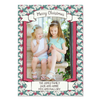Vintage Red and Green Mistletoe Christmas Photo Card