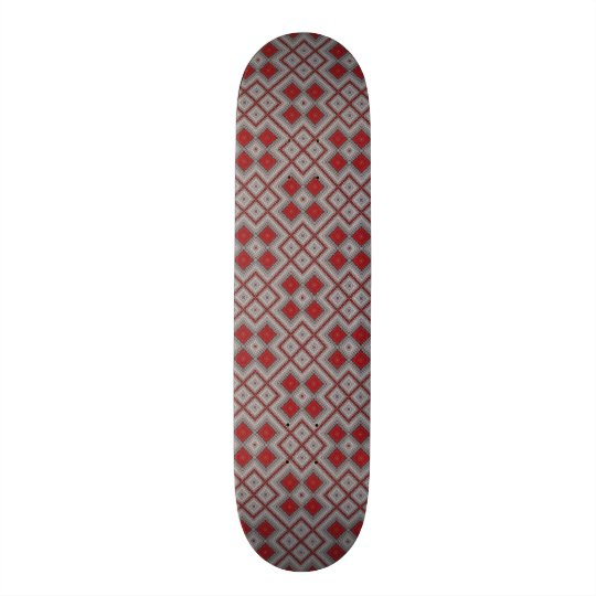 Vintage Red And Grey Geometric Abstract Pattern Custom Skate Board