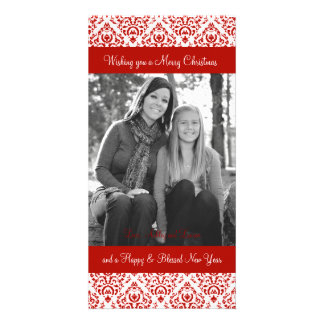 Vintage Red and White Christmas Damask Photo Card Template
