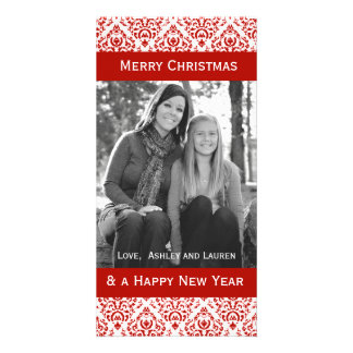 Vintage Red and White Christmas Damask Photo Cards