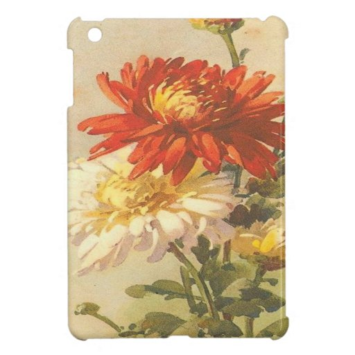Vintage, Red and White Flowers iPad Mini Cover