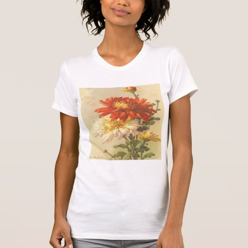 Vintage, Red and White Flowers Tee Shirt