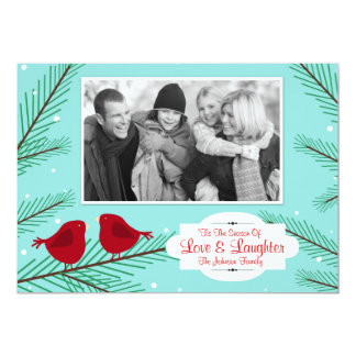 Vintage Red Birds Christmas Card, add your photo Card