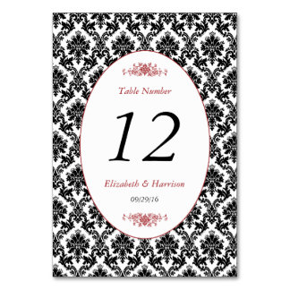 Vintage Red, Black & White Damask Weddin Table No. Card