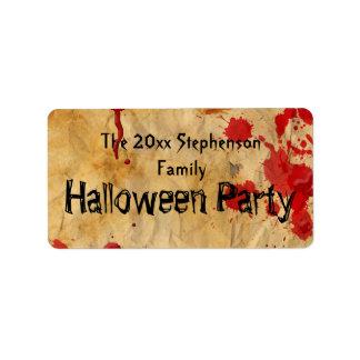 Vintage Red Blood Splatter Halloween Party Label