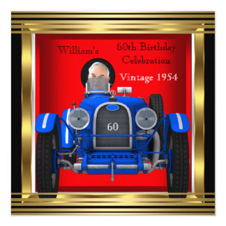 "Vintage Red Blue Racing Car 60th Birthday Photo 5.25"" Square Invitation Card"