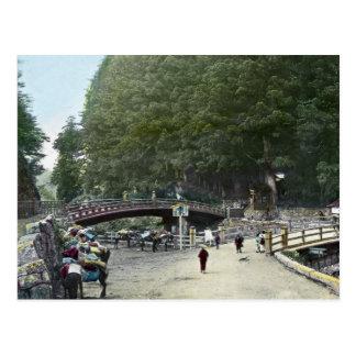 Vintage Red Bridge Tokyo Japan Postcard