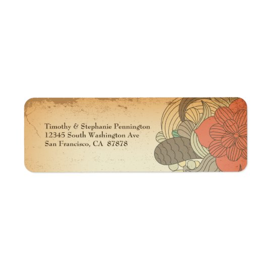 Vintage red brown floral swirls address labels