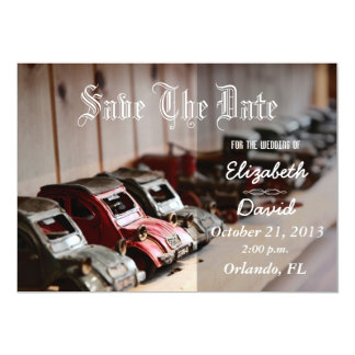 """Vintage Red Cars Save the date 5"""" X 7"""" Invitation Card"""