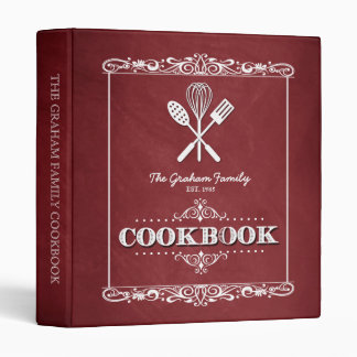 Vintage Red Chalkboard Family Cookbook Binder