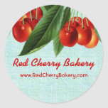 Vintage red cherries fruit tree gift tag stickers