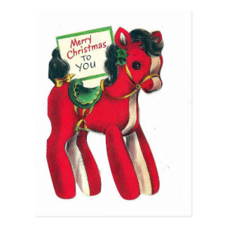 Vintage Red Christmas Pony Postcard