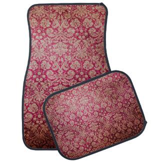 Vintage Red Cream Grunge Floral Damask Pattern Car Mat