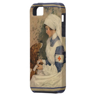 Vintage Red Cross Nurse with Golden Retriever Dog iPhone 5 Case