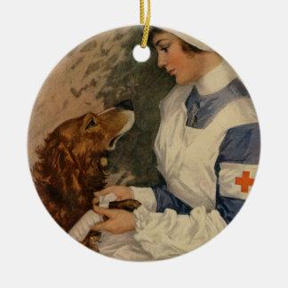 Vintage Red Cross Nurse with Golden Retriever Pet Round Ceramic Ornament