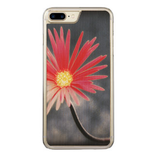 Vintage Red Daisy Flowers Carved iPhone 7 Plus Case