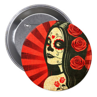 Vintage Red Day of the Dead Girl 3 Inch Round Button