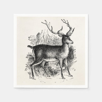 Vintage Red Deer Stag Personalized Template Paper Napkins
