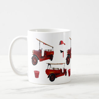 Vintage Red Fire Fighters Truck Cap Axe Hat, Coffee Mug