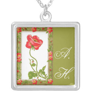 Vintage Red Flower Design with Initials Square Pendant Necklace