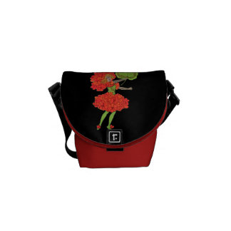 Vintage Red Flower Fairy Graphic Messenger Bags