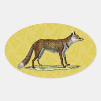 Vintage Red Fox Oval Sticker