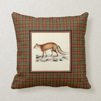 Vintage Red Fox with Rustic Fall Plaid Throw Pillow