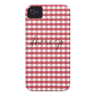 Vintage Red Gingham Customizable iPhone 4 Cover
