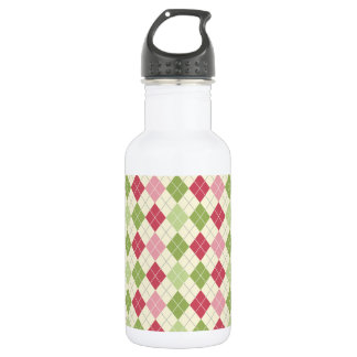 Vintage Red, Green, and Pink Argyle Pattern 532 Ml Water Bottle