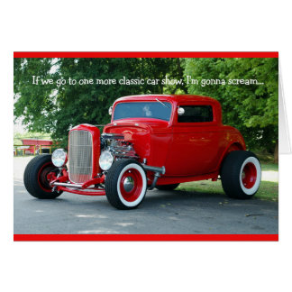 Vintage Red Hot Rod Coupe Classic Car Show Card