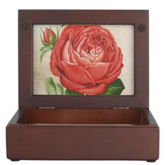 Vintage Red Hybrid Perpetual, Paul Neyron Rose Keepsake Box