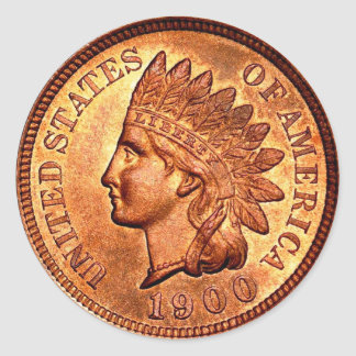 Vintage Red Indian Head Penny 1 Cent 1900 Round Sticker