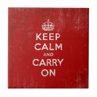 Vintage Red Keep Calm and Carry On Tile Trivet