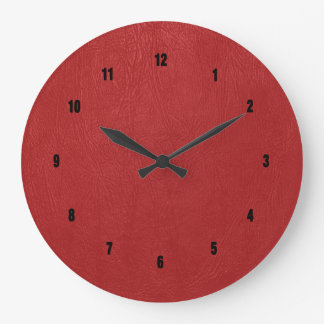 Vintage Red Leather Print Large Clock