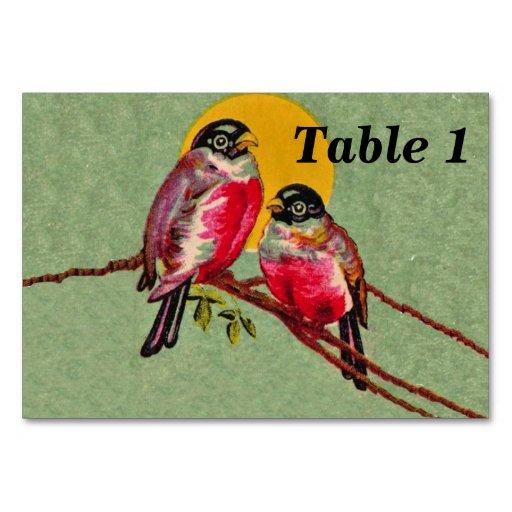 Vintage Red Love Birds Sun Table Card