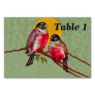 Vintage Red Love Birds Sun Table Cards