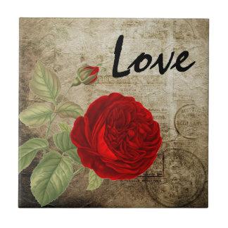 Vintage Red Love Rose Tile
