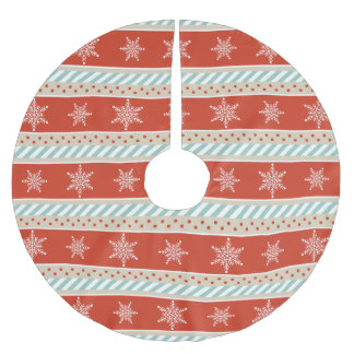 Vintage Red Mint Beige Stripes Snowflakes Pattern Brushed Polyester Tree Skirt