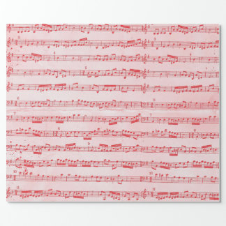 Vintage Red Musical Sheet Wrapping Paper