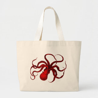 Vintage Red Octopus Large Tote Bag